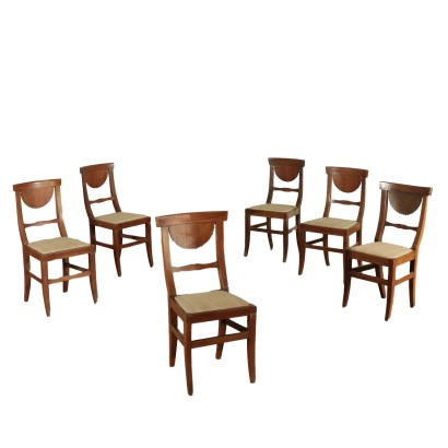 Group of Six Walnut Chairs Italy Second Half 19th Century