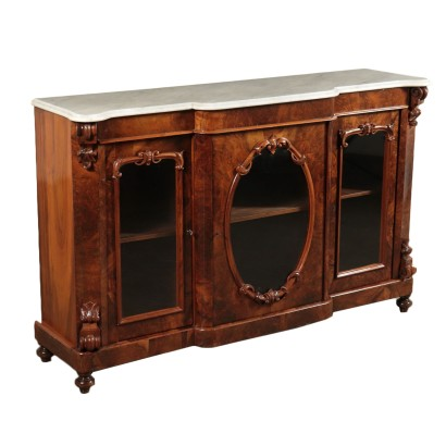 Walnut Cupboard with Three Doors Italy 19th Century
