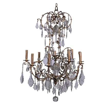 Iron and Glass Chandelier Italy 20th Century