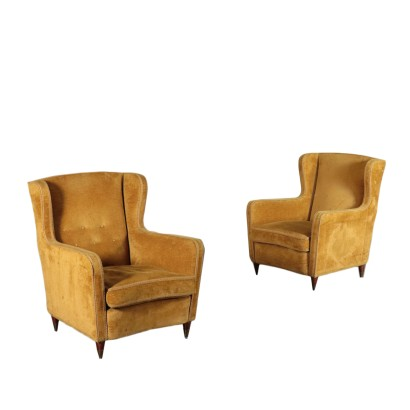 Pair of Armchairs Springs Feathers Brass 1950s