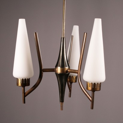Ceiling Lamp Brass and Opaline Glass 1960s