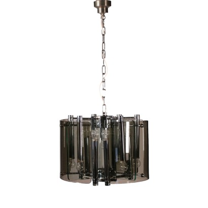 Ceiling Lamp Chromd Steel and Glass 1970s