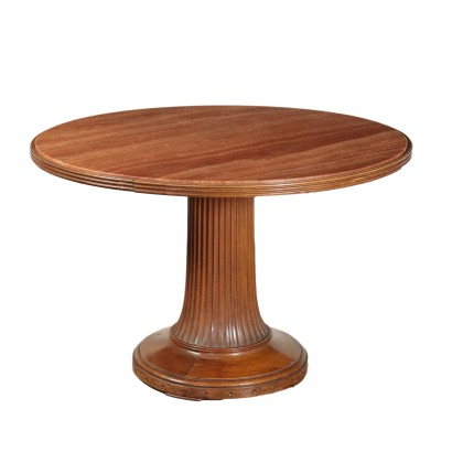 Round Table Walnut and Marble Mid 20th Century