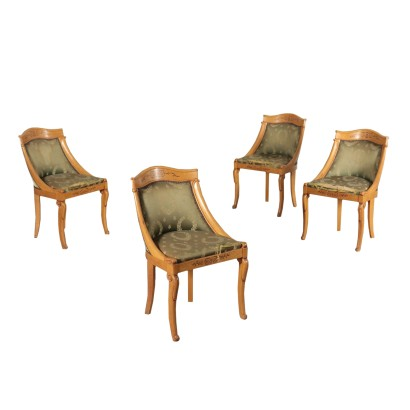Group of Four Gondola Chairs Maple and Mahogany 19th Century
