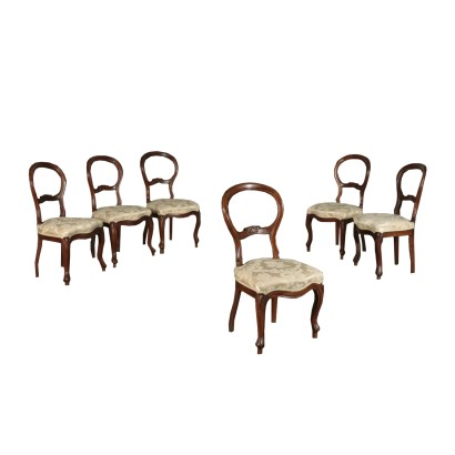 Group of 6 Chairs Walnut Italy 19th Century