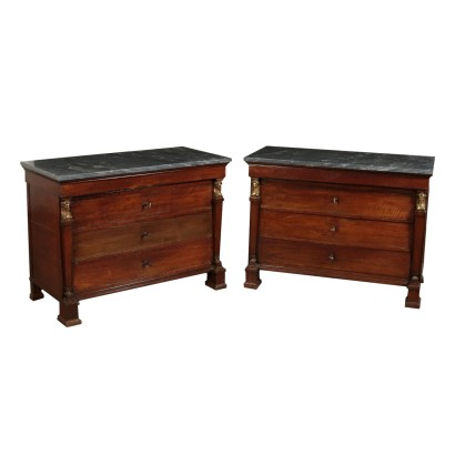 Two Chest of Drawers with Marble Countertop Walnut Italy 19th Century