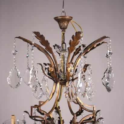 Chandelier with Eight Arms Iron and Glass First Half 20th Century
