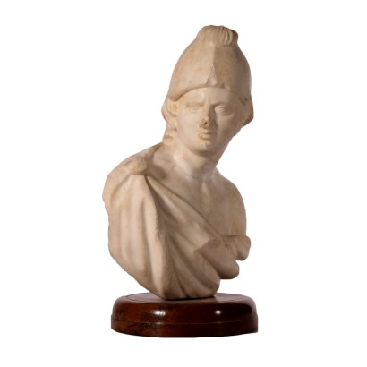 Male Bust with Parade Helmet Carrara Marble Italy 17th Century