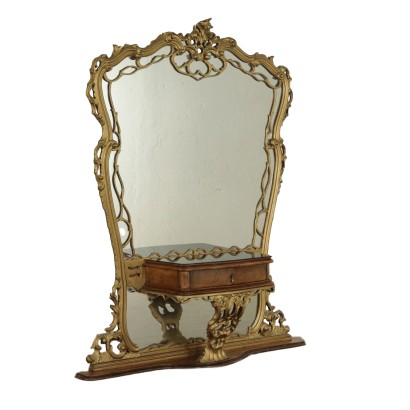 Chippendale Style Petineuse Gilded Wood and Poplar Burl 2oth Century