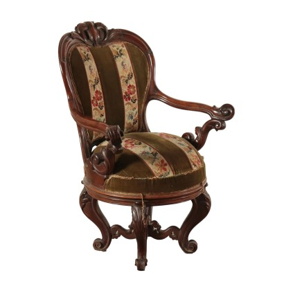 Louis Philippe Swivel Armchair Walnut Italy 19th Century