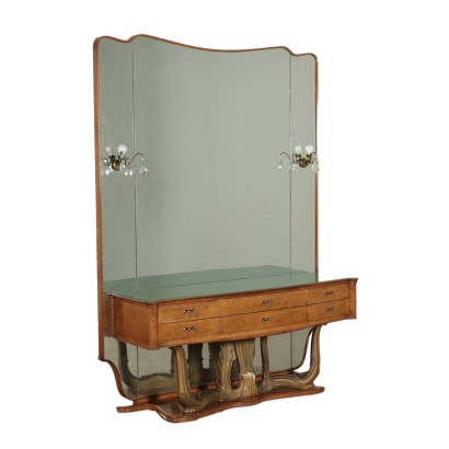 Dressing Table Burl Veneer and Glass Italy 1940s-1950s