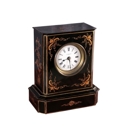 Table Clock Ebonized Wood France 19th Century