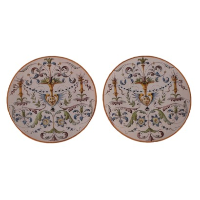 Pair of Ginori Plates Ceramic Italy 19th-20th Century