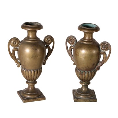 Pair of Two-Handled Vases, Gilded Bronze, Italy 19th Century