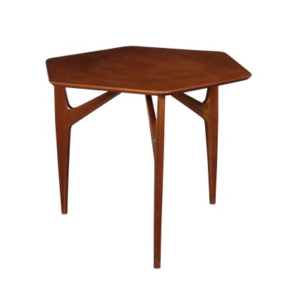 Table Mahogany Veneer and Solid Wood 1950s Italian Prodution