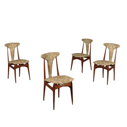 Chairs Mahogany Foam and Fabric 1950s Italian Prodution
