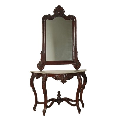 Luigi Filippo Console with Mirror Walnut Italy 19th Century