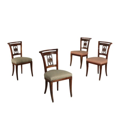 Group of four Restoration Chairs Walnut and Brass Italy 19th Century
