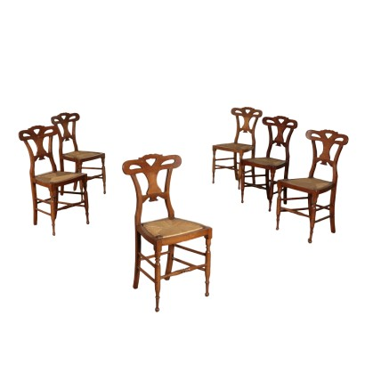 Group of 6 Biedermeier Chairs Walnut Austria 19th Century