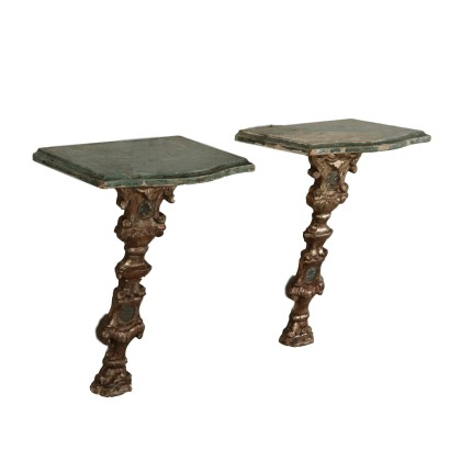 Pair of Pensile Consoles Wood Italy 18th Century