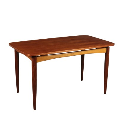 Table Beech Rosewood and Teak Veneer Italy 1960s Italian Prodution
