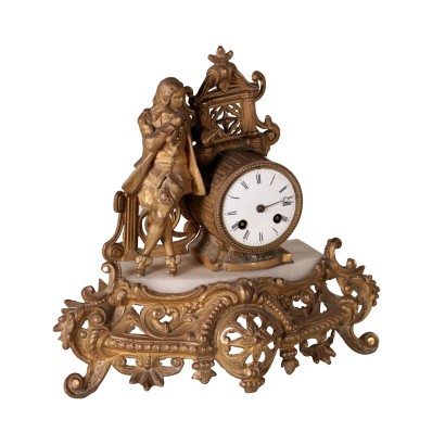 Table Clock Antimony and Marble France 19th Century