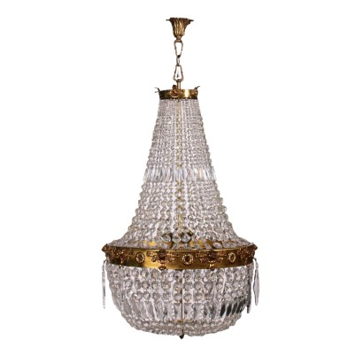 Hot-Air Baloon Chandelier Brass and Crystal Italy 20th Century
