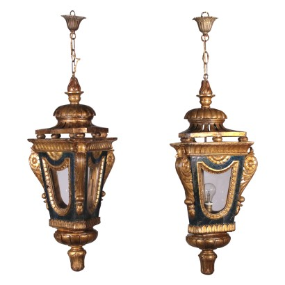 Pair of Lanterns in the Carved and Gilded Wood