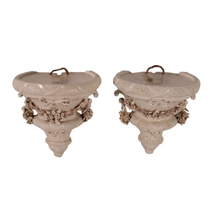 Pair of Shelfs Ceramic Nove, Italy  19th-20th Century
