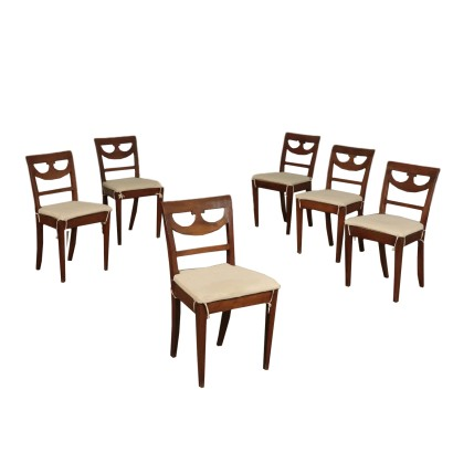Group of 6 Directory Chairs, Walnut, Italy 18th-19th Century
