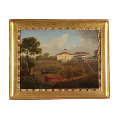 Landscape with Palace and Figure, Oil on Canvas 19th Century
