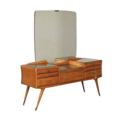 Dresser, Brurl and Marple Veneer, Back-Treated Glass, Italy 1950s