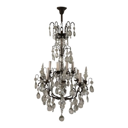 Chandelier with Hangings, Iron and Glass, Italy 20th Century