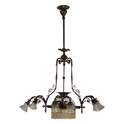 Liberty Chandelier, Bronze and Glass, Italy 20th Century
