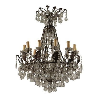 Hot-Air-Baloon Chandelier Iron and Glass Italy 20th Century