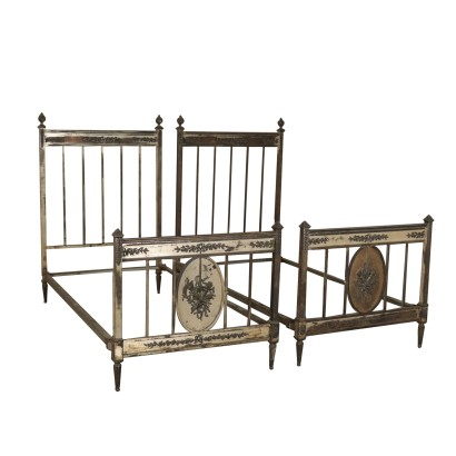 Matching Sivered Metal Beds Italy 19th Century