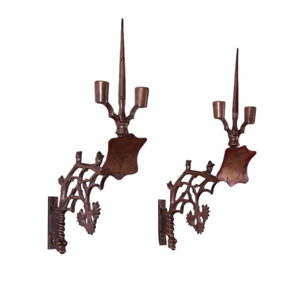 Pair of Neo-Gothic Appliques Bronze Italy 19th Century