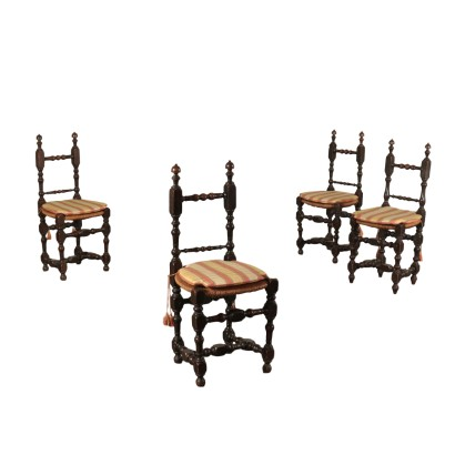 Group of 4 Chiars Sessile Oak Italy 20th Century