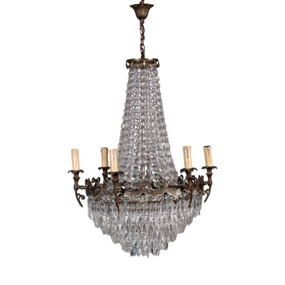 Hot-Air Baloon Chandelier Bronze and Glass Italy 20th Century