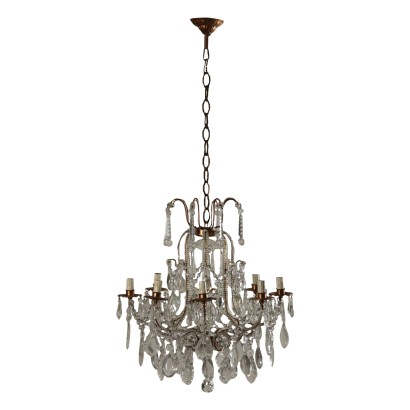 Chandelier with Hanging Drops, Iron and Glass Italy 20th Century