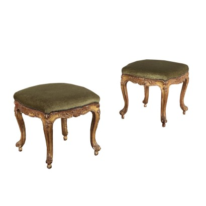 Pair of Louis XV Stools Gilded Wood Italy 18th Century