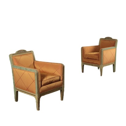 Matching Armchairs, Lacquered Wood, Italy 1950s