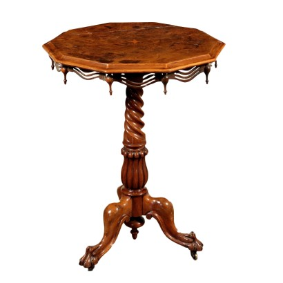 Octagonal Small Table, Walnut Burl Veneer, 19th Century