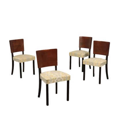 Chairs Stained and Veneered Wood Springs and Fabric Italy 1940s