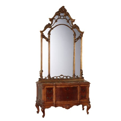 Dresser with Mirror, Walnut Burl and Marble, Italy 20th Century