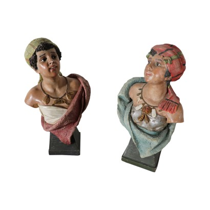 Couple of Moors, Hearthenware, Italy 20th Century