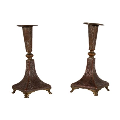 Pair of Candlesticks, Bronze, Iran 19th Century