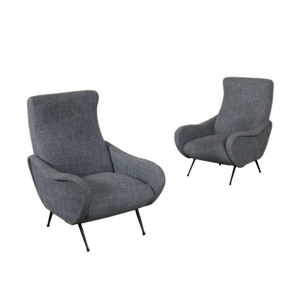 Armchairs, Foam Metal and Fabric, Italy 1960s Italian Prodution