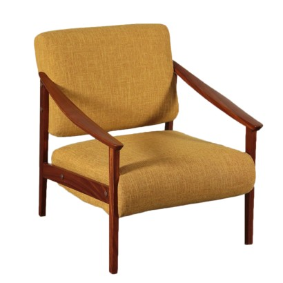 Armchair, Teak Foam and Fabric, Italy 1960s Italian Prodution