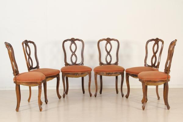 Sedie Stile Chippendale : Sei sedie chippendale barocchetto bottega del 900 dimanoinmano.it